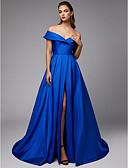 ราคาถูก Special Occasion Dresses-บอลกาวน์ ไหล่ตก ชายกระโปรงชาเปิล Taffeta ทางการ แต่งตัว กับ ผ่าหน้า โดย TS Couture®