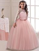 baratos Vestidos para Meninas-Infantil Para Meninas Activo Doce Festa Feriado Rosa empoeirada Sólido Manga Longa Longo Vestido Roxo