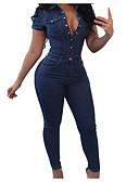 ราคาถูก กางเกงว่ายน้ำ-สำหรับผู้หญิง ไปเที่ยว ซึ่งทำงานอยู่ คอเสื้อเชิ้ต สีน้ำเงินกรมท่า ขากว้าง ชุด Jumpsuits, สีพื้น XL XXL XXXL แขนสั้น