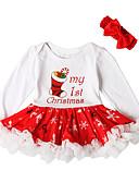 olcso Bébi ruházat-Baba Lány Aktív / Alap Karácsony / Parti / Születésnap Nyomtatott / Karácsony Hosszú ujj Térd feletti Pamut Ruha Fehér
