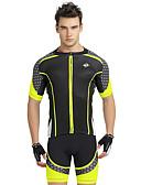 povoljno Biciklističke majice i kompleti-Nuckily Muškarci Kratkih rukava Biciklistička majica s kratkim hlačama Bijela Geometic Bicikl Kratke hlače Biciklistička majica Sportska odijela Prozračnost Ultraviolet Resistant Reflektirajuće trake