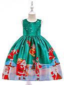 halpa Tyttöjen mekot-Lapset Taapero Tyttöjen Vintage Aktiivinen Joulu Party Pyhäpäivä Piirretty Joulu Hihaton Polvipituinen Mekko Apila