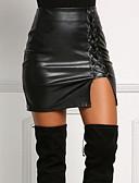 Χαμηλού Κόστους Γυναικείες Φούστες-Γυναικεία Εφαρμοστό PU Μίνι Φούστες - Μονόχρωμο Σκίσιμο Μαύρο M L XL