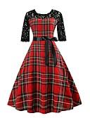 billige Uformelle kjoler-Dame Ferie Ut på byen Vintage 1950-tallet A-linje Kjole - Pledd / Tern, Blonde Trykt mønster Knelang