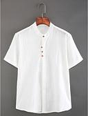 ราคาถูก ชุดเดรสพิมพ์ลาย-สำหรับผู้ชาย เชิร์ต Chinoiserie ผ้าลินิน พื้นฐาน ปกตั้ง เพรียวบาง สีพื้น ขาว / แขนสั้น / ฤดูร้อน