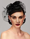 billiga Kvinnors hårtillbehör-Fjäder / Nät Kentucky Derby Hat / fascinators / Huvudbonad med Fjäder / Blomma 1st Bröllop / Speciellt Tillfälle Hårbonad