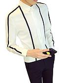 billige Herreskjorter-Tynn Klassisk krage Skjorte Herre - Stripet Forretning Arbeid Hvit / Langermet / Høst