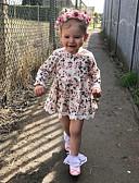 זול שמלות לתינוקות-שמלה כותנה שרוול ארוך תחרה דפוס פעיל / בסיסי בנות תִינוֹק / פעוטות