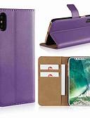 olcso iPhone tokok-Case Kompatibilitás Apple iPhone X / iPhone 8 Plus / iPhone 8 Pénztárca / Kártyatartó / Állvánnyal Héjtok Egyszínű Kemény Valódi bőr