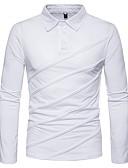 olcso Férfi pólók-Állógallér Férfi Polo - Egyszínű Fekete / Hosszú ujj