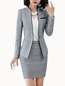 Χαμηλού Κόστους Πουκάμισο-Γυναικεία Δουλειά Δουλειά Άνοιξη & Χειμώνας Κανονικό Μπλέιζερ, Μονόχρωμο Όρθιος Γιακάς Μακρυμάνικο Πολυεστέρας Μαύρο / Γκρίζο / Λεπτό