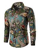 billige Herreskjorter-Bomull Skjorte Herre - Paisly / Tribal Vintage / Grunnleggende Grønn / Langermet
