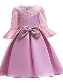 Χαμηλού Κόστους Φορέματα κοκτέιλ-Γραμμή Α Μέχρι το γόνατο Φόρεμα για Κοριτσάκι Λουλουδιών - Δαντέλα / Σατέν 3/4 Μήκος Μανικιού Με Κόσμημα με Σχέδιο Πεταλούδα / Δαντέλα