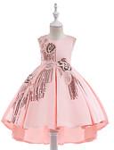 זול שמלות לבנות-שמלה עד הברך ללא שרוולים פרנזים אחיד Party / חגים וינטאג' / פעיל בנות ילדים