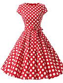 billige Kjoler med trykk-Dame Store størrelser Vintage Bomull A-linje Kjole - Polkadotter, Trykt mønster Midi