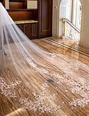 Χαμηλού Κόστους Πέπλα Γάμου-Δύο-βαθμίδων Λουλουδάτο / Δαντέλα Πέπλα Γάμου Πολύ Μακριά Πέπλα με Διακοσμητικά Επιράμματα Δαντέλα / Τούλι / Mantilla