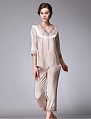 Χαμηλού Κόστους Print Dresses-Γυναικεία Δαντέλα Σετ Εσώρουχα Πυτζάμες Μονόχρωμο Γκρίζο Κρασί Ανοικτό μπλε L XL XXL / Λαιμόκοψη V