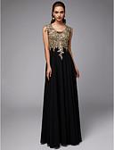 Χαμηλού Κόστους Βραδινά Φορέματα-Γραμμή Α Λαιμόκοψη U Μακρύ Σιφόν / Δαντέλα Κομψό & Πολυτελές / Κομψό Επίσημο Βραδινό / Μαύρο γκαλά Φόρεμα 2020 με Διακοσμητικά Επιράμματα