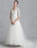 billiga Brudklänningar-A-linje V-hals Golvlång Spets / Tyll Halvlång ärm Vacker i svart Bröllopsklänningar tillverkade med Rosett(er) / Knappar 2020 / Illusion