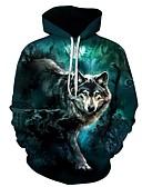 Χαμηλού Κόστους Αντρικές Μπλούζες με Κουκούλα & Φούτερ-Ανδρικά Μεγάλα Μεγέθη Φαρδιά Παντελόνι - 3D Λύκος, Στάμπα Πράσινο του τριφυλλιού / Με Κουκούλα / Αθλητικά / Μακρυμάνικο / Φθινόπωρο / Χειμώνας