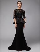 Χαμηλού Κόστους Βραδινά Φορέματα-Τρομπέτα / Γοργόνα Με Κόσμημα Ουρά Δαντέλα / Σατέν Μισό μανίκι Σέξι / See Through Φόρεμα Μητέρας της Νύφης με Χάντρες / Διακοσμητικά Επιράμματα 2020