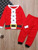 baratos Conjuntos para Meninos-Infantil Bébé Para Meninos Básico Natal Diário Feriado Sólido Natal Manga Longa Padrão Padrão Algodão Conjunto Vermelho