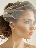Χαμηλού Κόστους Πέπλα Γάμου-Μίας Βαθμίδας Πεπαλαιωμένο Στυλ / Κλασσικό στυλ Πέπλα Γάμου Πέπλο προσώπου με Μονόχρωμο / Κρύσταλλοι / Στρας Τούλι / Κλουβί πουλιού