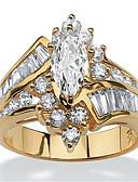 billige Quartz horlogesQuartz-Dame Ring Kubisk Zirkonium 1pc Gull Sølv Harpiks Kobber Strass Rund Annerledes damer Stilfull Luksus Bryllup Fest Smykker Multi Layer Elegant Marquise Krone