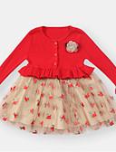 povoljno Kompletići za bebe-Dijete Djevojčice Osnovni Cvjetni print / Color block Dugih rukava Pamuk Haljina Red / Dijete koje je tek prohodalo