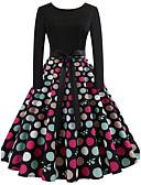 olcso Női ruhák-Női Vintage Vékony A-vonalú Ruha - Fűzős, Pöttyös Térdig érő