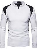 Χαμηλού Κόστους Ανδρικά μπλουζάκια και φανελάκια-Ανδρικά T-shirt Βασικό Συνδυασμός Χρωμάτων Όρθιος Γιακάς Λευκό / Μακρυμάνικο