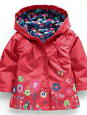 povoljno Jakne i kaputi za djevojčice-Djeca Djevojčice Osnovni Cvjetni print Dugih rukava Pamuk Jakna i kaput Plava