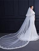 ราคาถูก ม่านสำหรับงานแต่งงาน-Two-tier สไตล์วินเทจ / รูปแบบดอกไม้ ผ้าคลุมหน้าชุดแต่งงาน ผ้าคลุมศรีษะสำหรับชุดแต่งงาน กับ เข็มกลัด / ไม่มีลาย 118.11นิ้ว (300ซม.) ลูกไม้ / Tulle