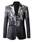 billige Herreskjorter-Herre Daglig Normal Blazer, Ensfarget / Geometrisk Rundet jakkeslag Langermet Polyester Svart