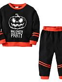 povoljno Kompletići za Za dječake bebe-Dijete Dječaci Osnovni Dnevno Print / Halloween Dugih rukava Kratka Komplet odjeće Crn / Dijete koje je tek prohodalo