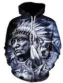 Χαμηλού Κόστους Αντρικές Μπλούζες με Κουκούλα & Φούτερ-Ανδρικά Μεγάλα Μεγέθη Φαρδιά Παντελόνι - 3D Λύκος, Στάμπα Γκρίζο / Με Κουκούλα / Μακρυμάνικο / Φθινόπωρο / Χειμώνας