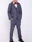 저렴한 남아 의류 세트-아동 남아 스트리트 쉬크 체크무늬 긴 소매 보통 의류 세트 푸른