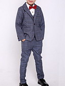 cheap Boys' Clothing Sets-Kids Boys' Street chic Plaid Long Sleeve Regular Clothing Set Blue