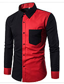ราคาถูก เสื้อเชิ้ตผู้ชาย-สำหรับผู้ชาย เชิร์ต ซึ่งทำงานอยู่ / พื้นฐาน ฝ้าย ลายบล็อคสี สีดำ / แขนยาว