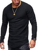 Χαμηλού Κόστους Ανδρικά μπλουζάκια και φανελάκια-Ανδρικά T-shirt Βασικό Μονόχρωμο Στρογγυλή Λαιμόκοψη Μαύρο / Μακρυμάνικο