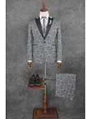 povoljno Odijela-Patterned Kroj po mjeri Pamuk / Poliester Odijelo - Stepenasti Droit 1 bouton / odijela