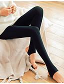 ราคาถูก เลกกิ้ง-สำหรับผู้หญิง ทุกวัน พื้นฐาน ที่ปกคลุมขา - สีพื้น, ลายพิมพ์ ข้อมือระดับกลาง สีดำ ส้ม ผ้าขนสัตว์สีธรรมชาติ ขนาดเดียว