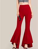 Χαμηλού Κόστους Βραδινά Φορέματα-Γυναικεία Κομψό στυλ street Flare Παντελόνι - Μονόχρωμο Ψηλή Μέση Βαμβάκι Μαύρο Ρουμπίνι Πράσινο Χακί XL XXL XXXL