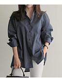 ราคาถูก เสื้อผู้หญิง-สำหรับผู้หญิง เชิร์ต คอเสื้อเชิ้ต ลายแถบ ขาว