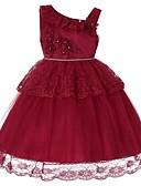 זול שמלות לבנות-שמלה עד הברך ללא שרוולים אחיד Party / חגים פעיל / מתוק בנות ילדים / פעוטות