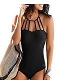 Χαμηλού Κόστους One-piece swimsuits-Γυναικεία Αθλητικό Βασικό Δένει στο Λαιμό Θαλασσί Μαύρο Κρασί Triunghi Προκλητικό Ένα κομμάτι Μαγιό - Μονόχρωμο Εξώπλατο M L XL Θαλασσί / Σούπερ Σέξι