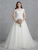 povoljno Vjenčanice-Krinolina Scoop Neck Srednji šlep Čipka / Til Izrađene su mjere za vjenčanja s Perlica / Čipka po LAN TING BRIDE®