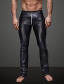 ราคาถูก กางเกงผู้ชาย-สำหรับผู้ชาย ทุกวัน / คลับ สปอร์ตตี้ / พื้นฐาน ที่ปกคลุมขา - สีพื้น, Ruched ข้อมือระดับกลาง สีดำ L XL XXL / Punk & สไตล์โกธิค