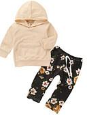 Χαμηλού Κόστους Βρεφικά Για Αγόρια σετ ρούχων-Μωρό Αγορίστικα Βασικό Καθημερινά Φλοράλ Μακρυμάνικο Κανονικό Βαμβάκι Σετ Ρούχων Μπεζ / Νήπιο