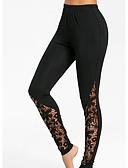 ราคาถูก กางเกงผู้หญิง-สำหรับผู้หญิง ทุกวัน พื้นฐาน ที่ปกคลุมขา - สีพื้น, ลายพิมพ์ เอวสูง สีดำ M L XL